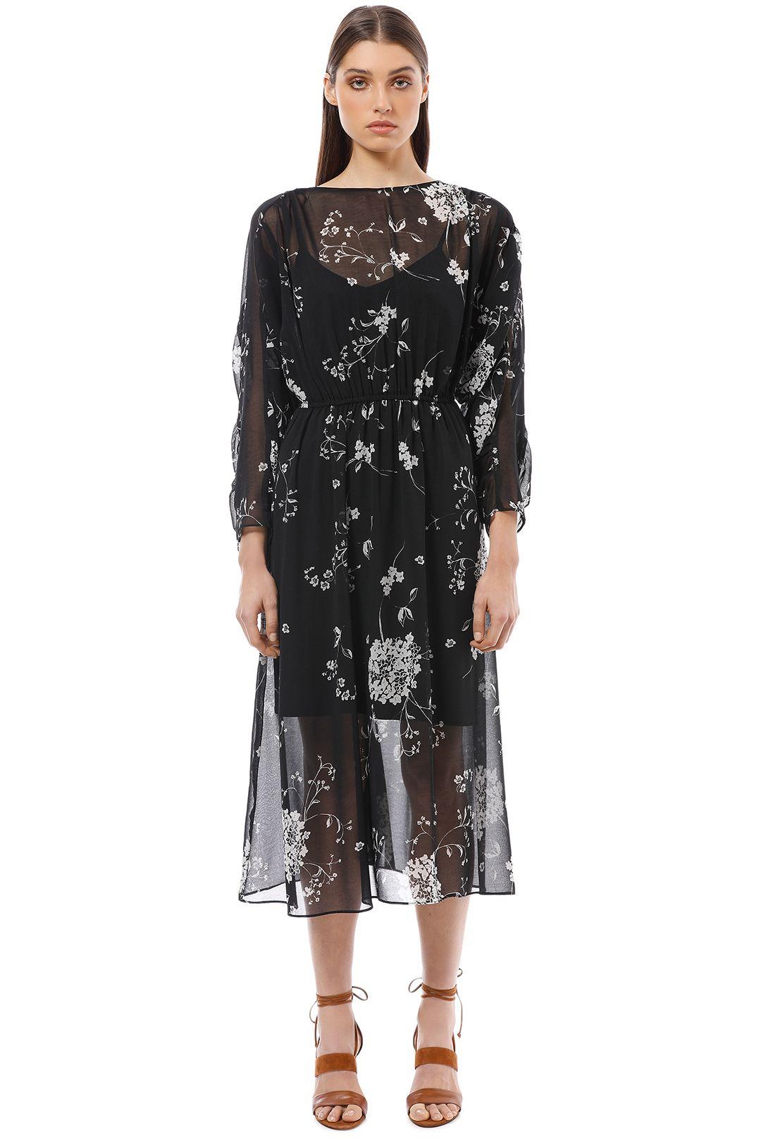 Veronika Maine - Monotone Floral Gathered Midi Dress - Black - Front