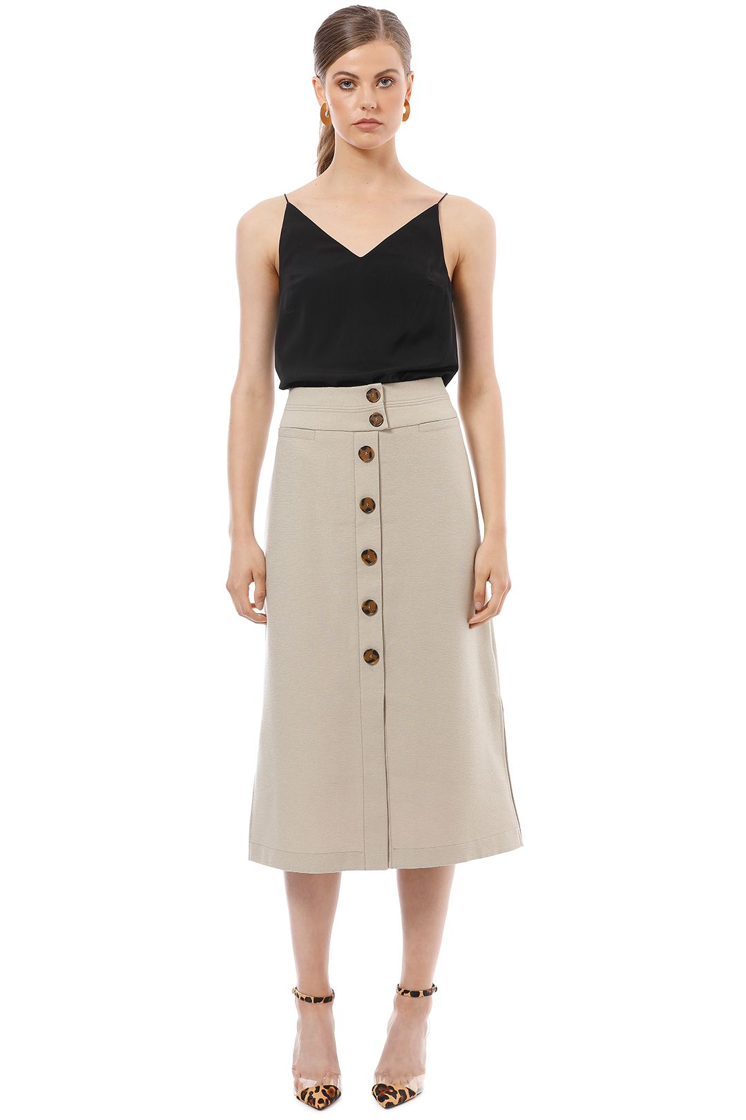 Veronika Maine - Textured Button Up Skirt - Beige - Front