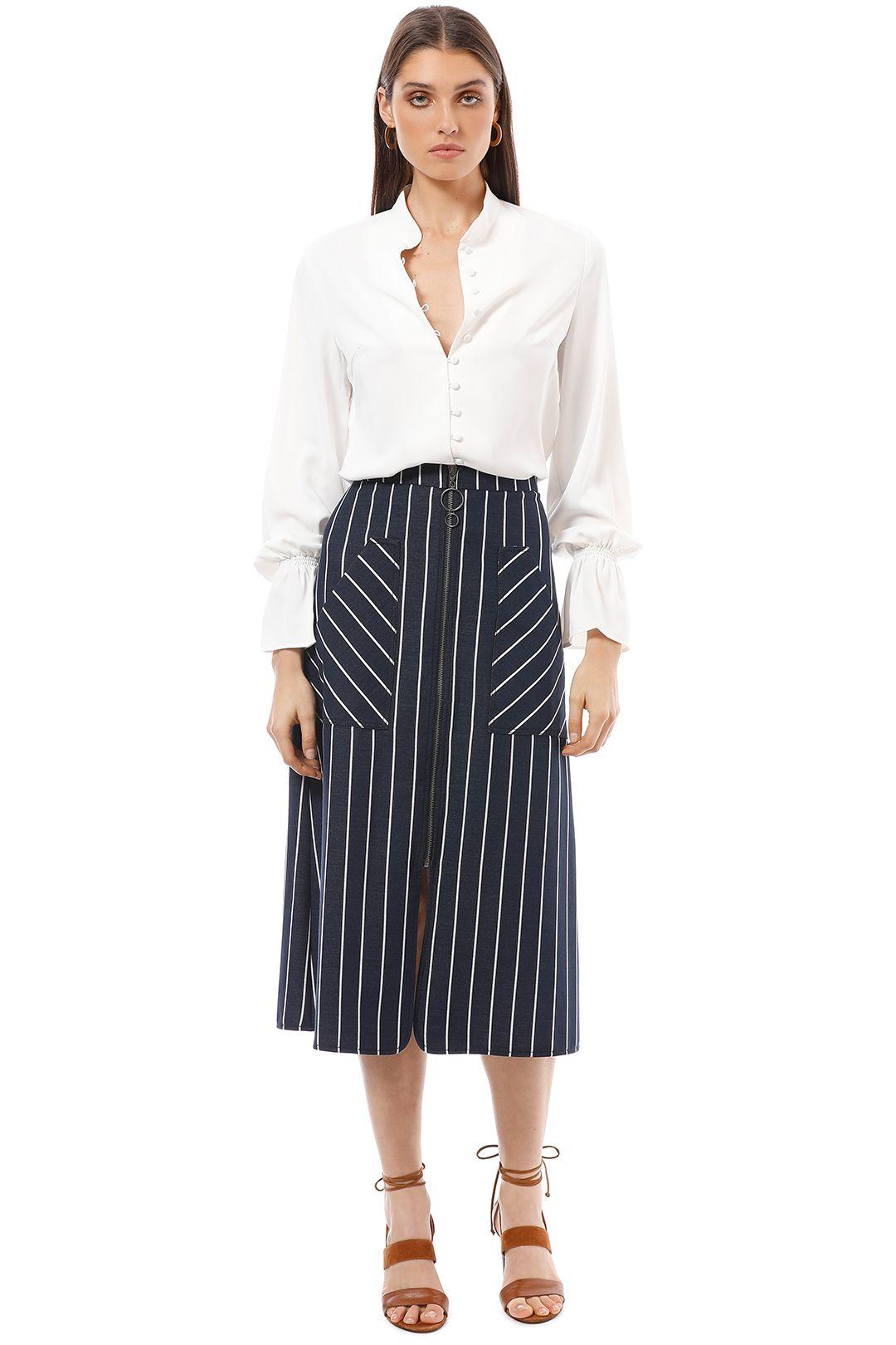 Veronika Maine - Textured Stripe Zip Skirt - Navy - Front