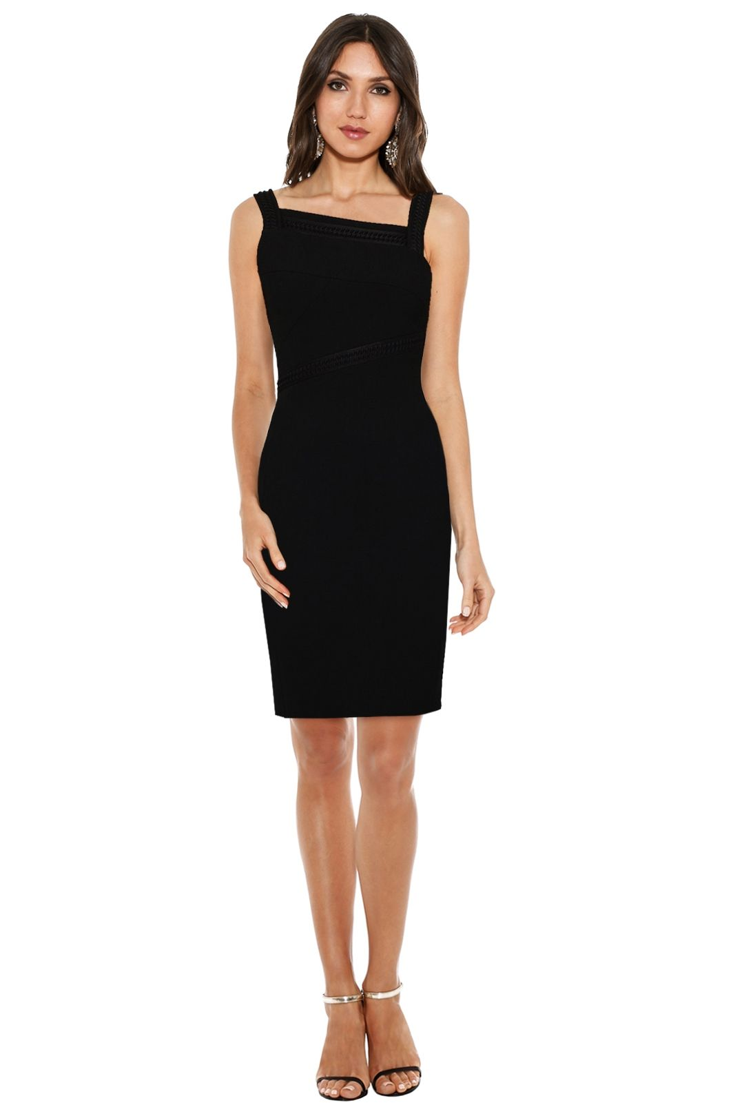 Versace Collection - Emboss Fitted Assym Dress - Black - Front