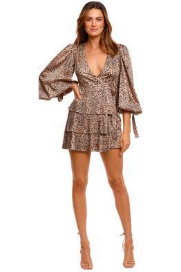 Wandering Animalier Pleated Twill Dress print