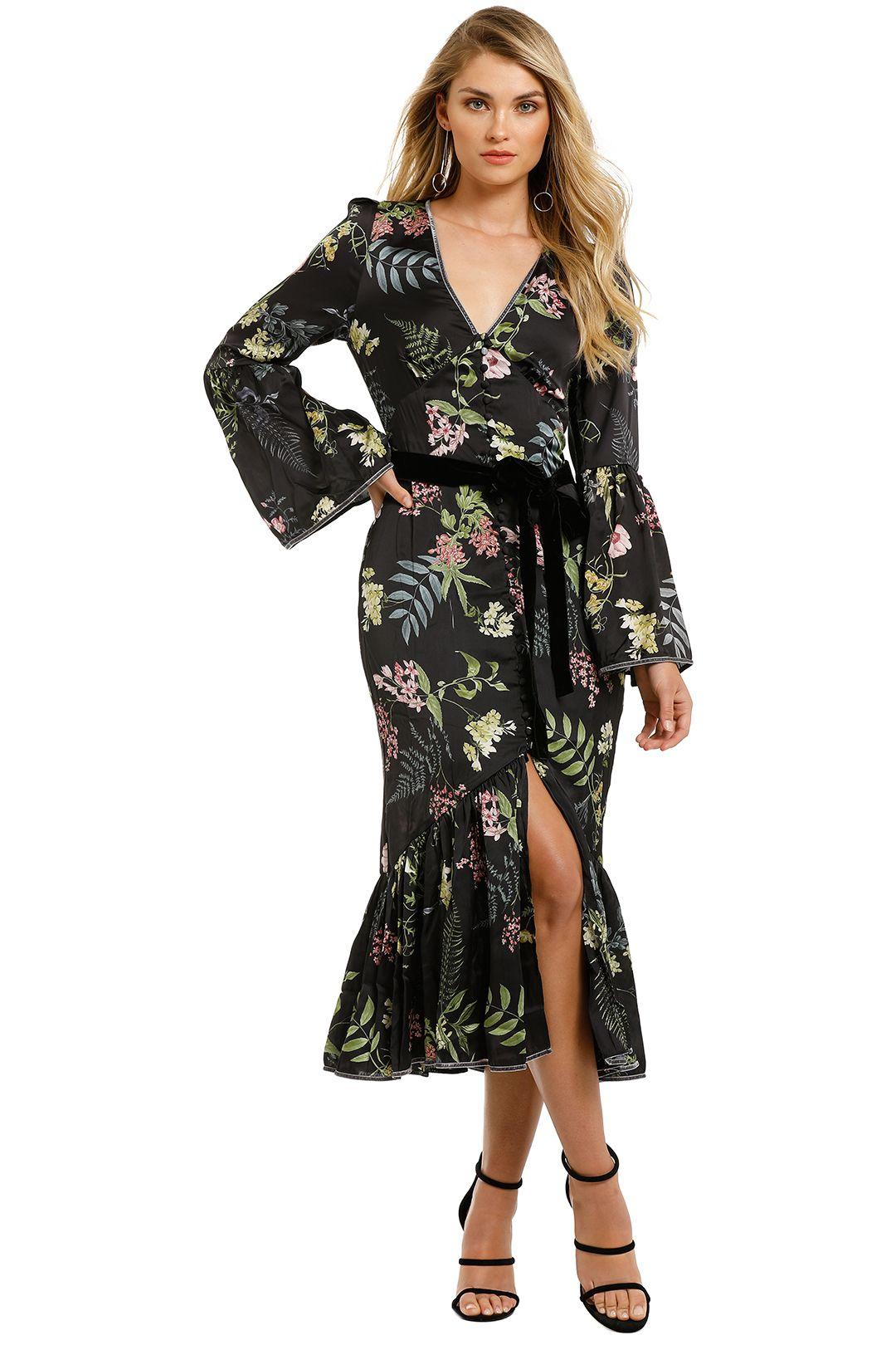 We-Are-Kindred-Eloise-Button-Through-Dress-Black-Delphinium-Front