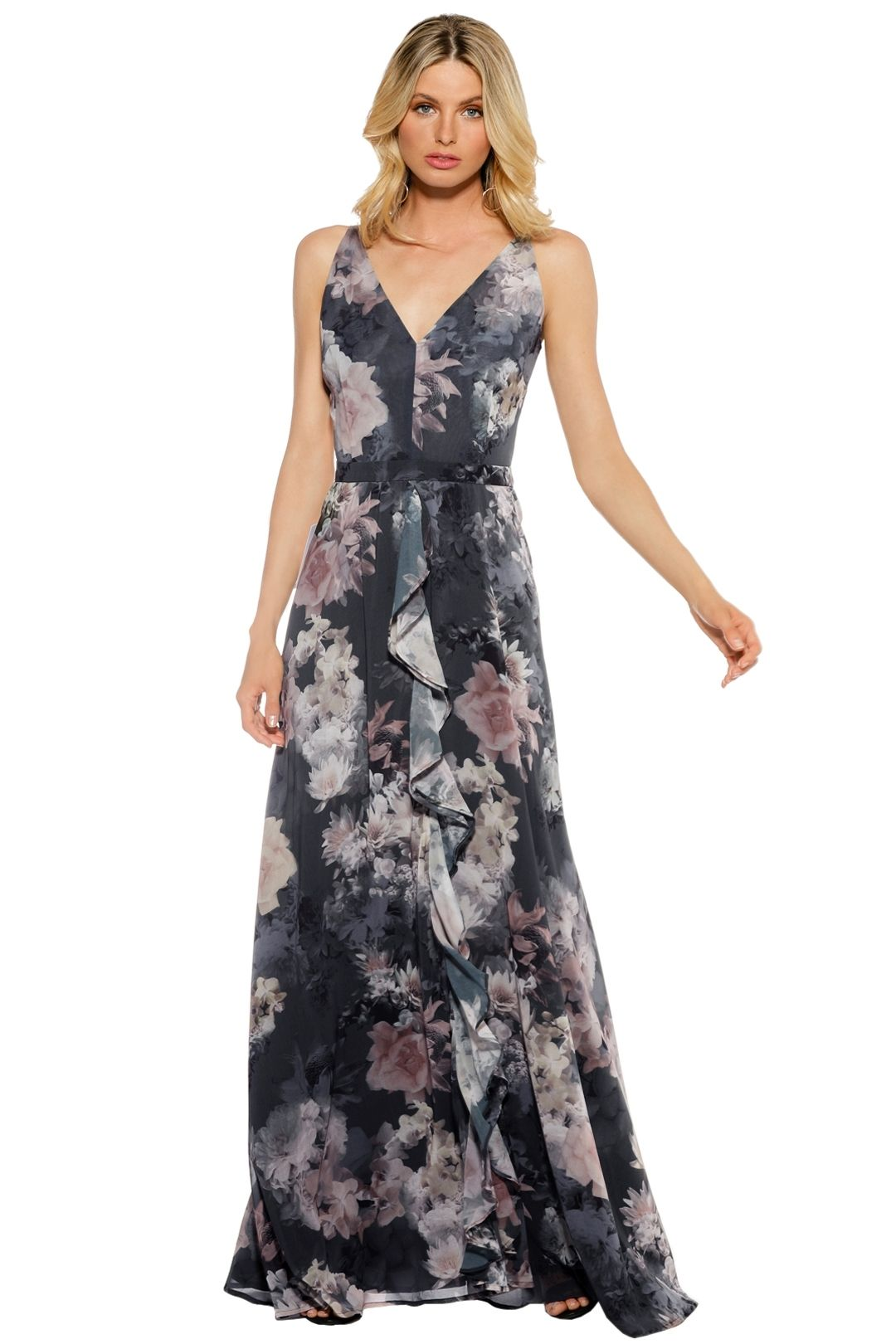 We Are Kindred - Alanah Bow Back Maxi - Floral Blue - Front
