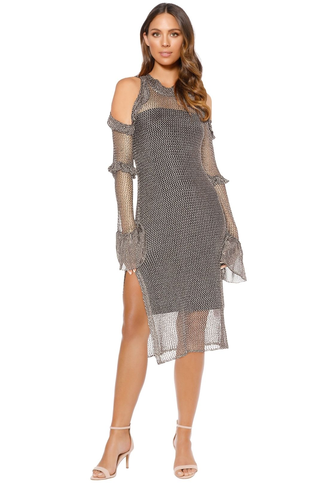 We Are Kindred - Annastasia Cold Shoulder Dress - Pewter - Front