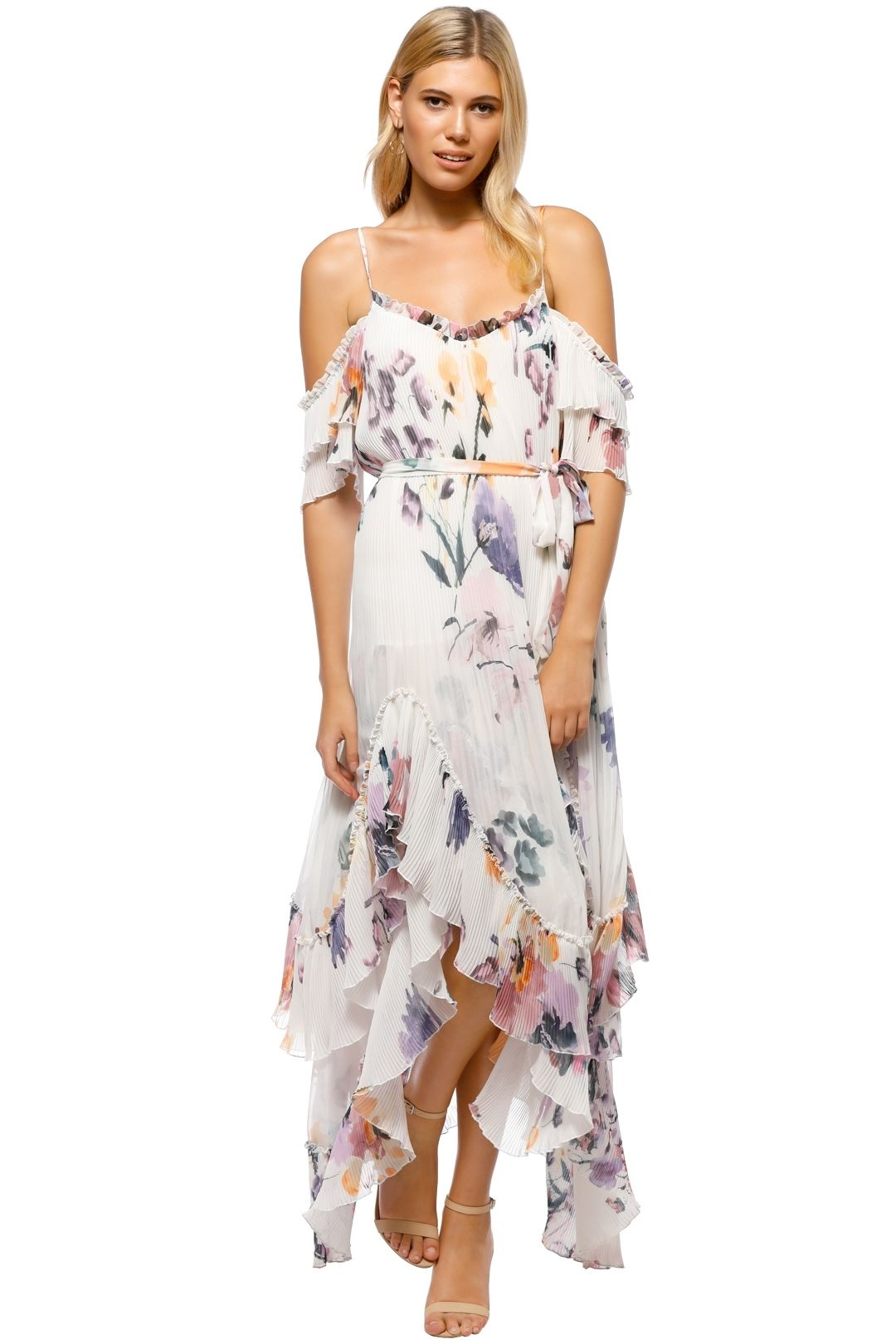 We Are Kindred - Catarina Pleat Maxi Dress - White Floral - Front