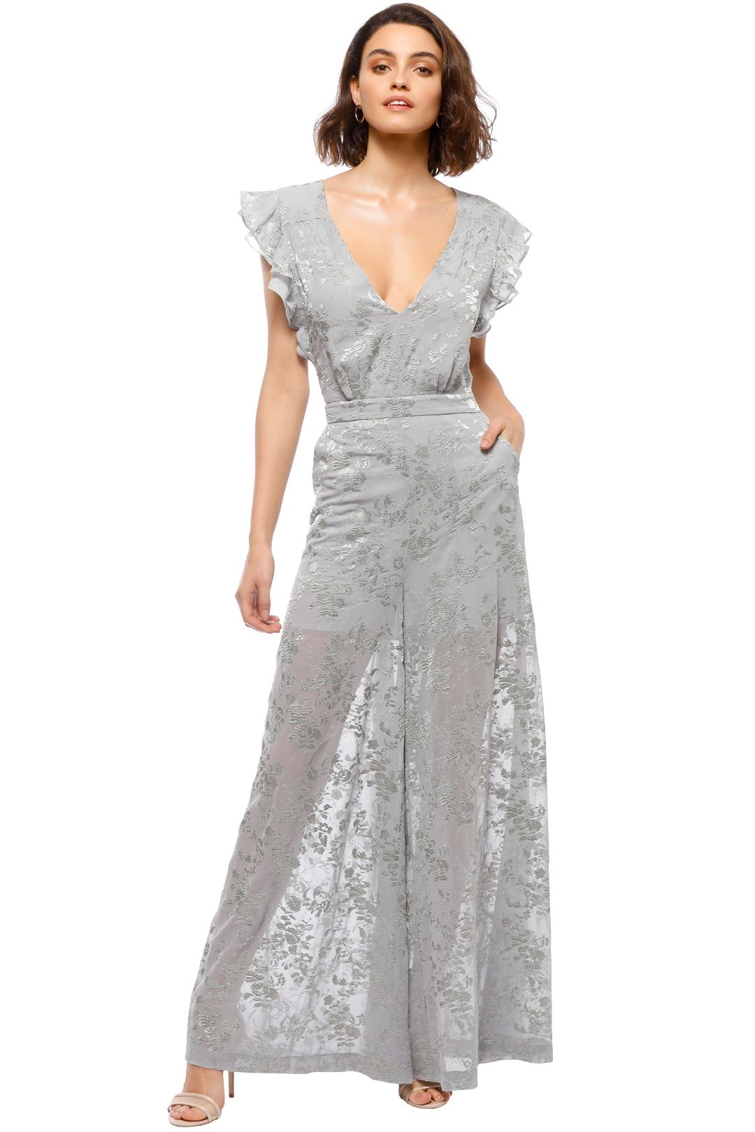 We Are Kindred - Florence Open Back Jumpsuit - Silver - Front