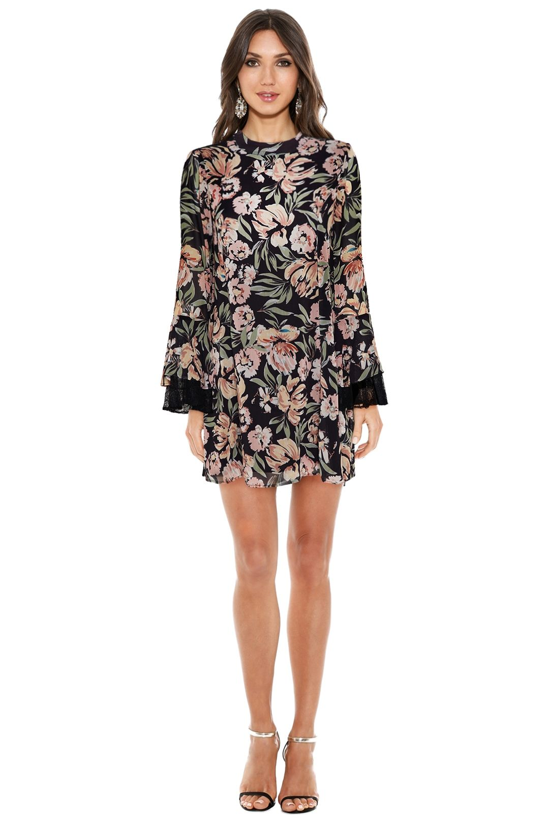 We Are Kindred - Jojo Frill Sleeve - Floral Black - Front