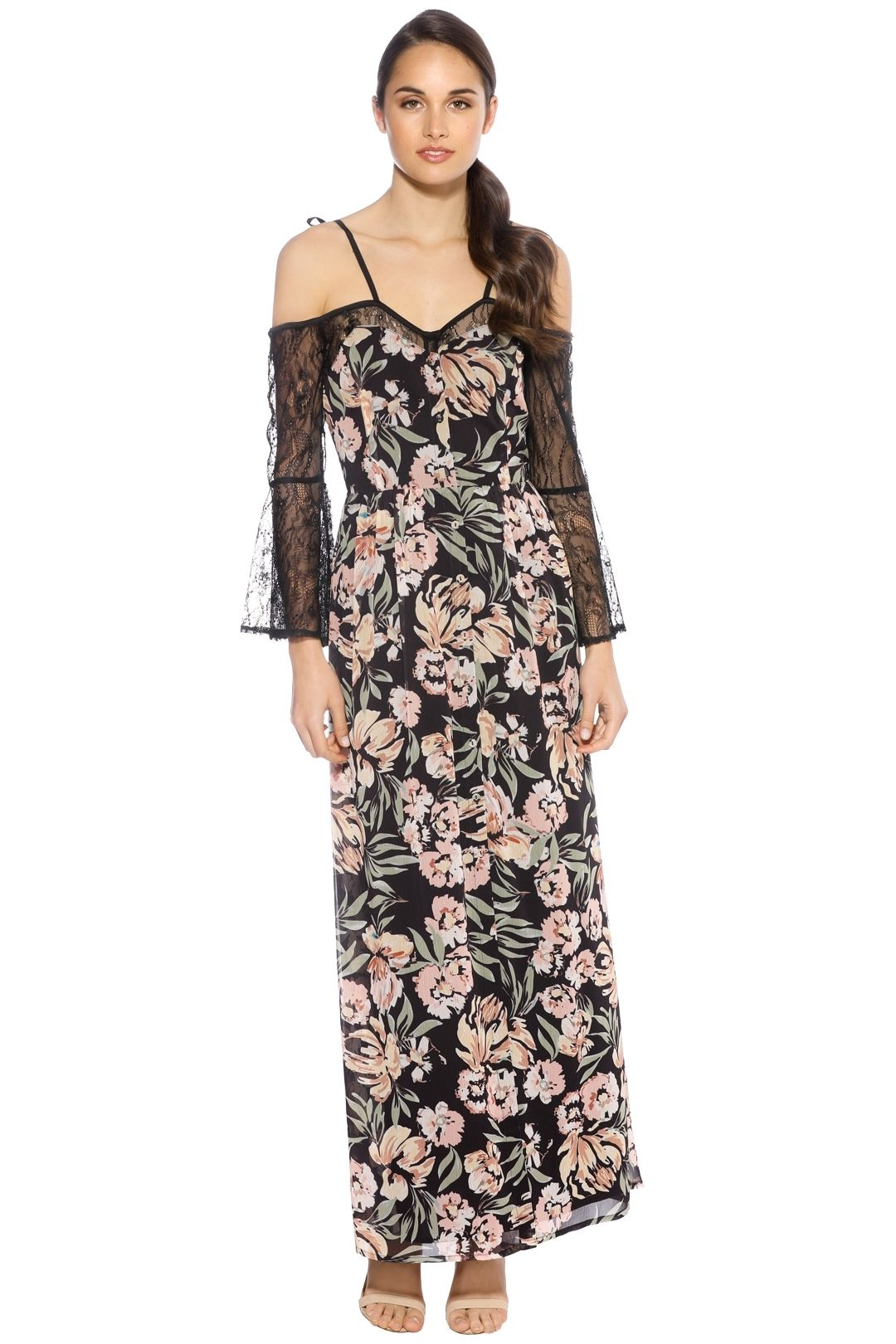 We Are Kindred - Jojo Lace Insert Dress - Floral Black - Front