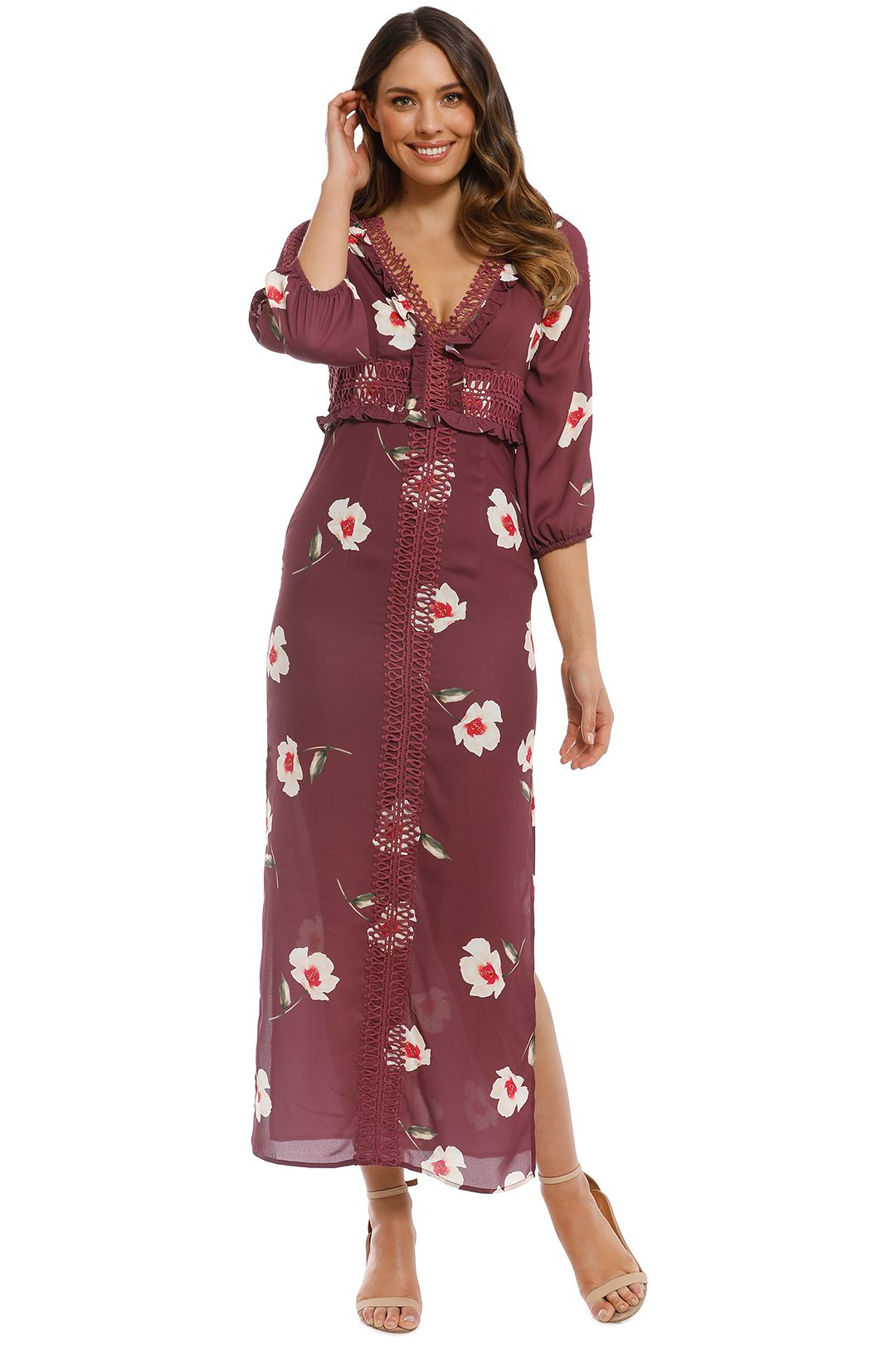 We Are Kindred - Madeliene Ladder Maxi Dress - Plum - Front