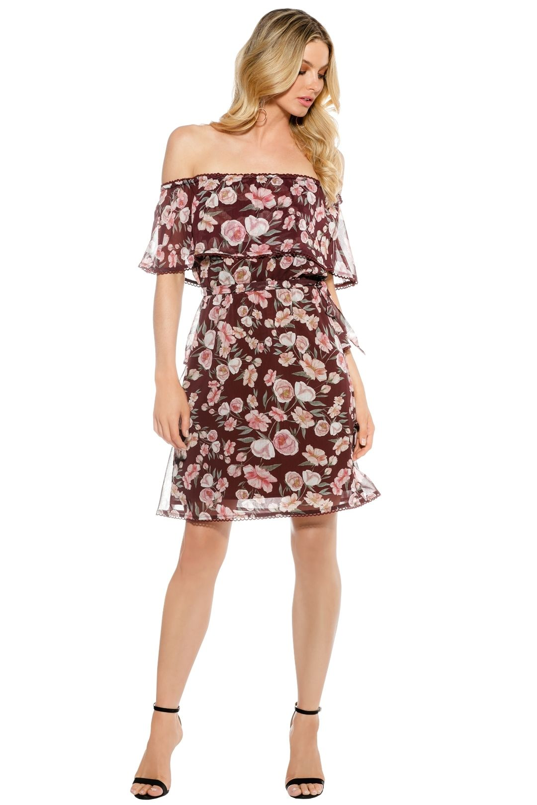 We Are Kindred - Meg Off Shoulder Dress - Floral Red - Front