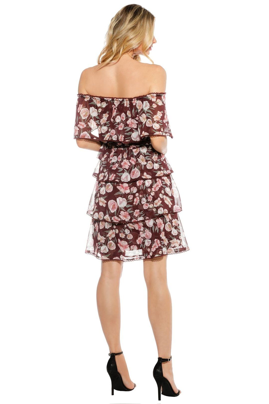 We Are Kindred - Meg Off Shoulder Dress - Floral Red - Back