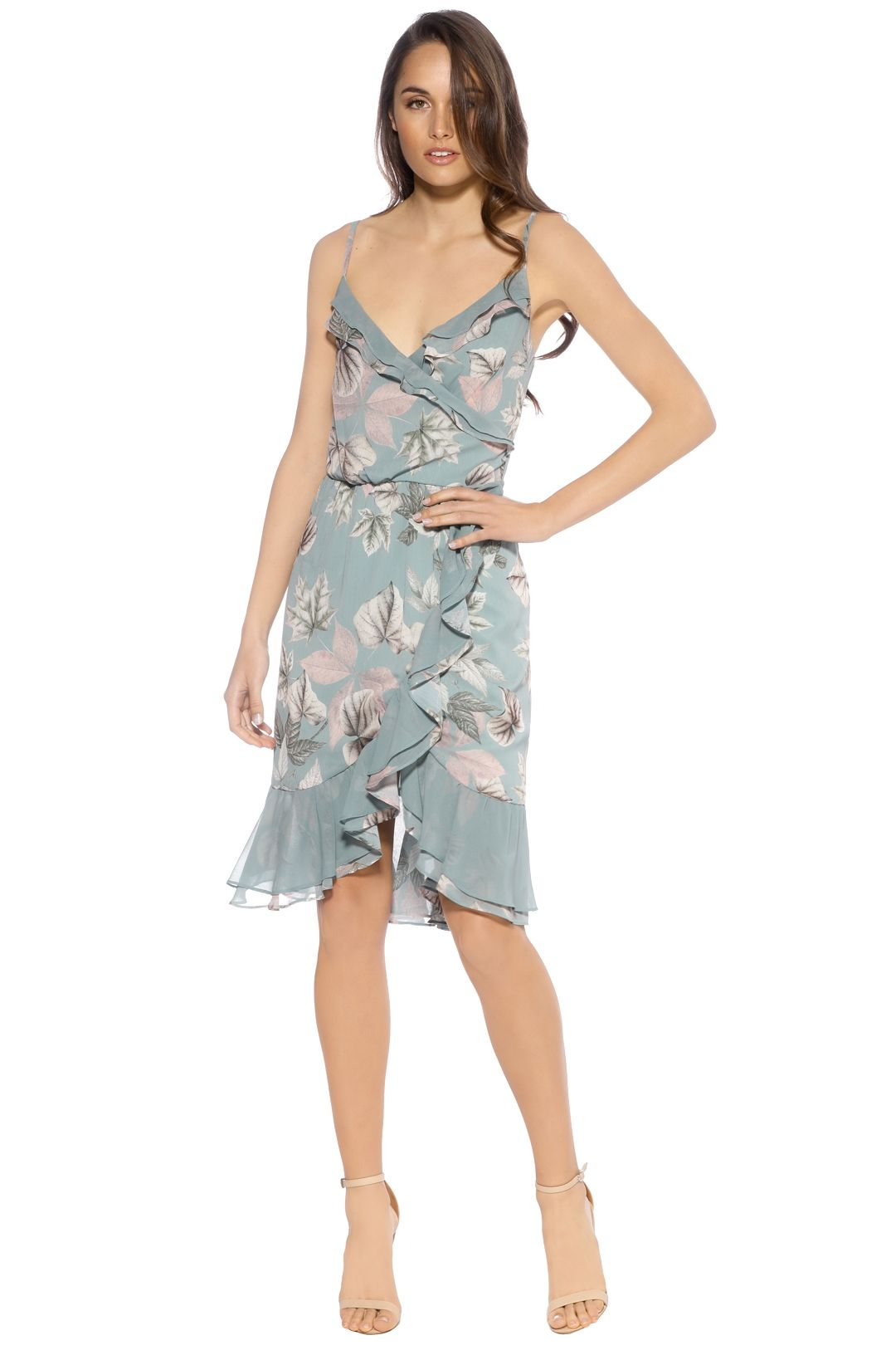 We Are Kindred - Sibella Ruffle Wrap Dress - Front - Teal