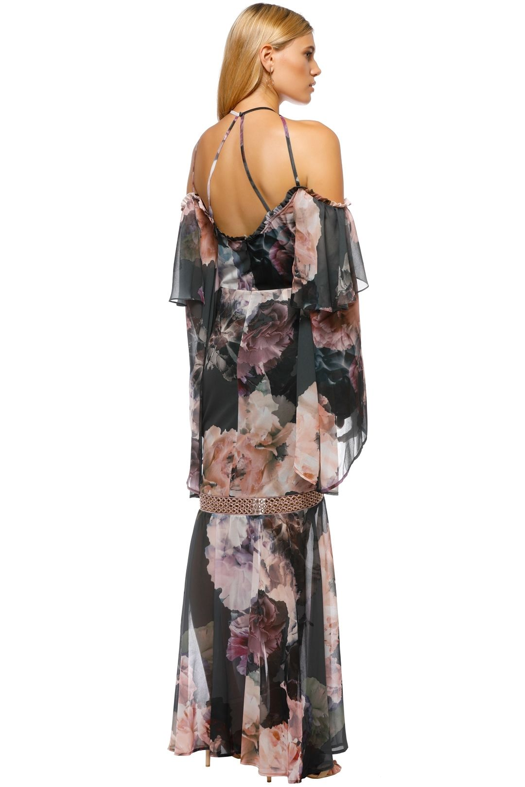 We Are Kindred - Valentina Split Maxi Dress - Gray Pink Floral - Back