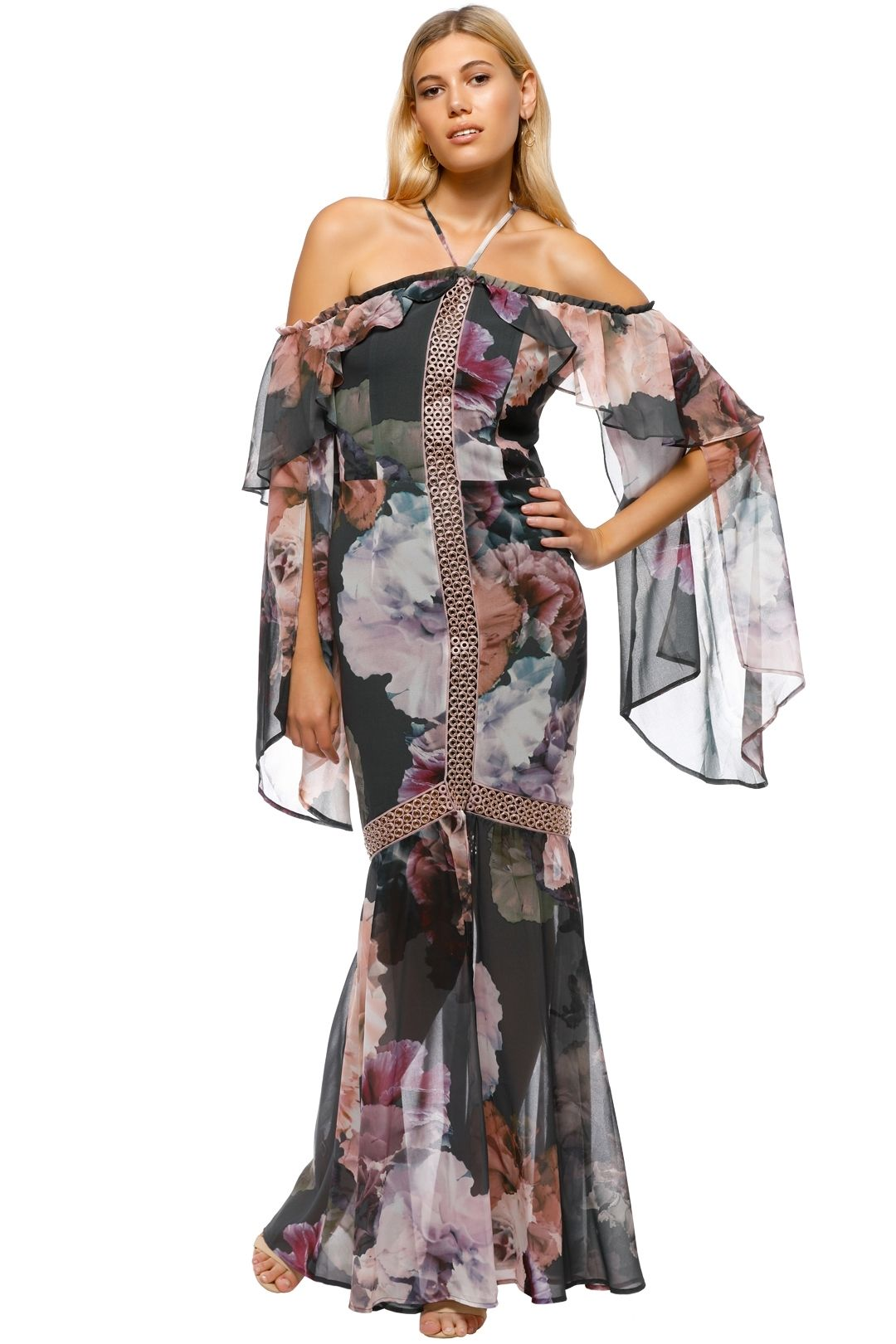 We Are Kindred - Valentina Split Maxi Dress - Gray Pink Floral - Front