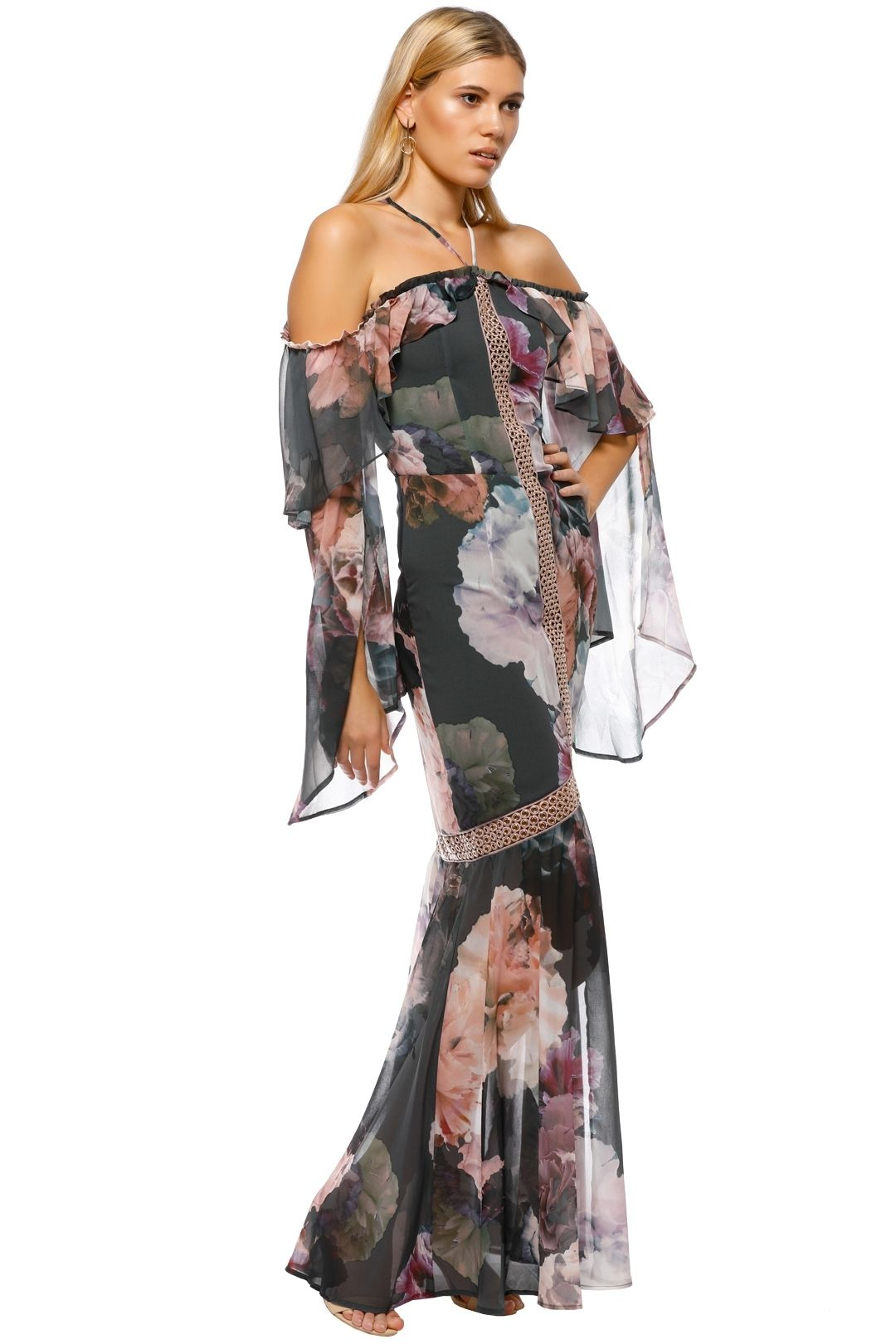 We Are Kindred - Valentina Split Maxi Dress - Gray Pink Floral - Side