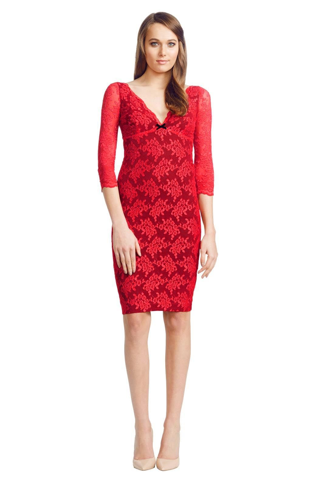 Wheels and Dollbaby - Red Scallop Lace FiFi Dress - Red - Front