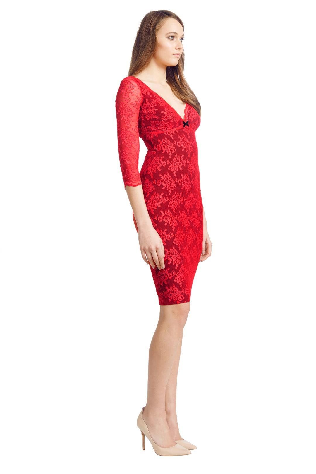 Wheels and Dollbaby - Red Scallop Lace FiFi Dress - Red - Side