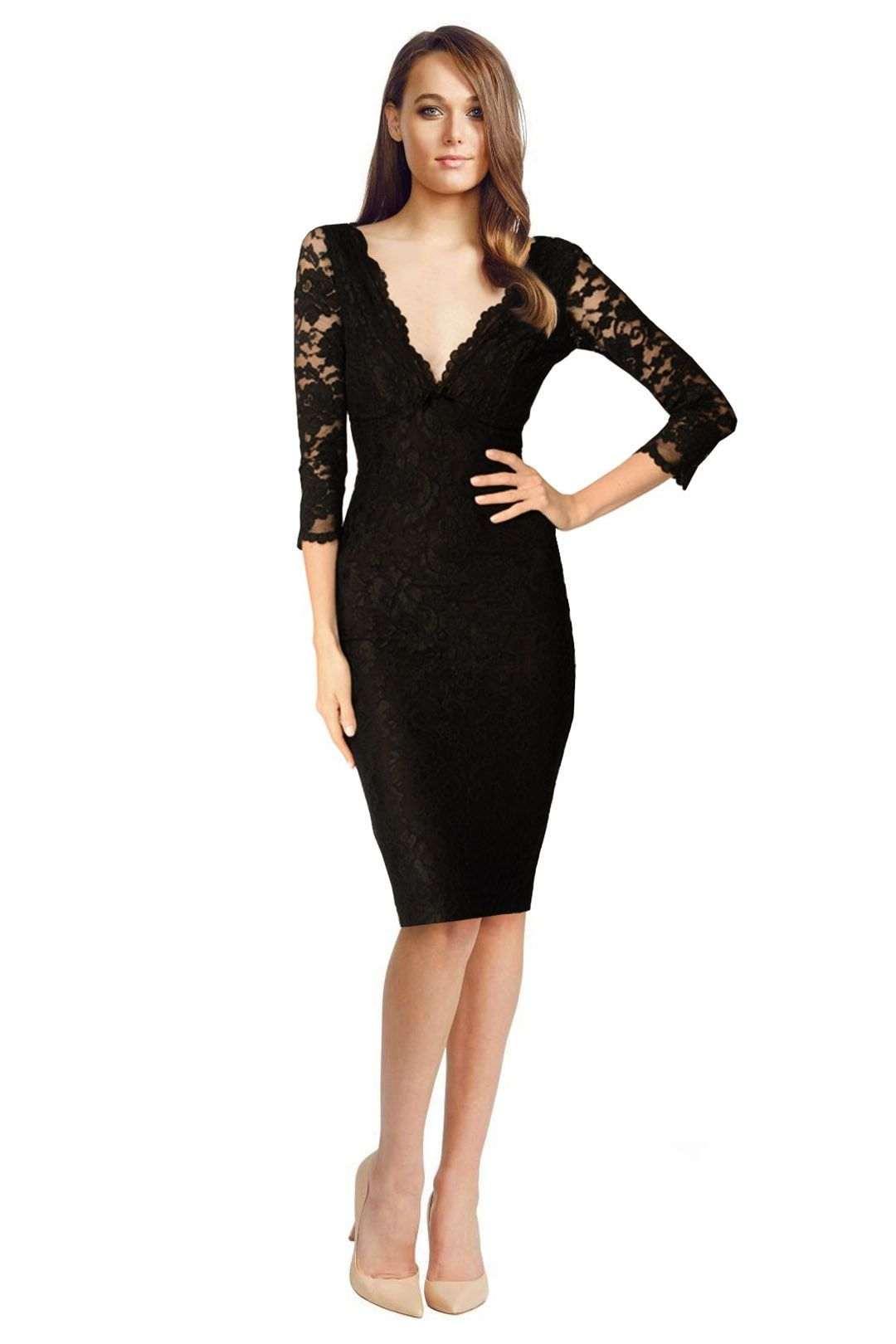 Wheels & Dollbaby - Black Lace Fifi - Black - Front