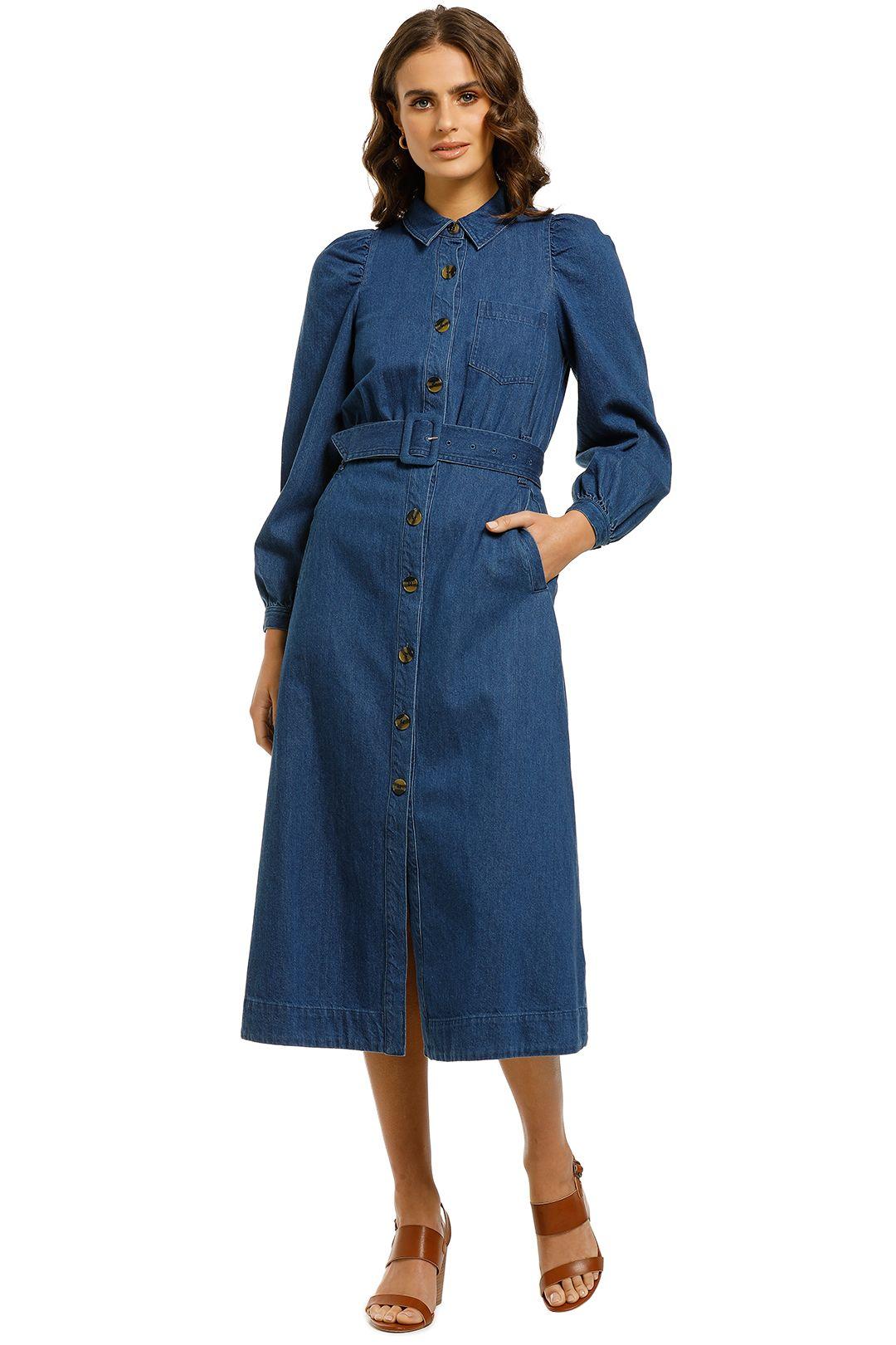 Whistles-Denim-Midi-Shirt-Dress-Front