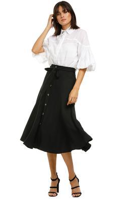 Whistles-Marissa-Button-Through-Skirt-Black-Front