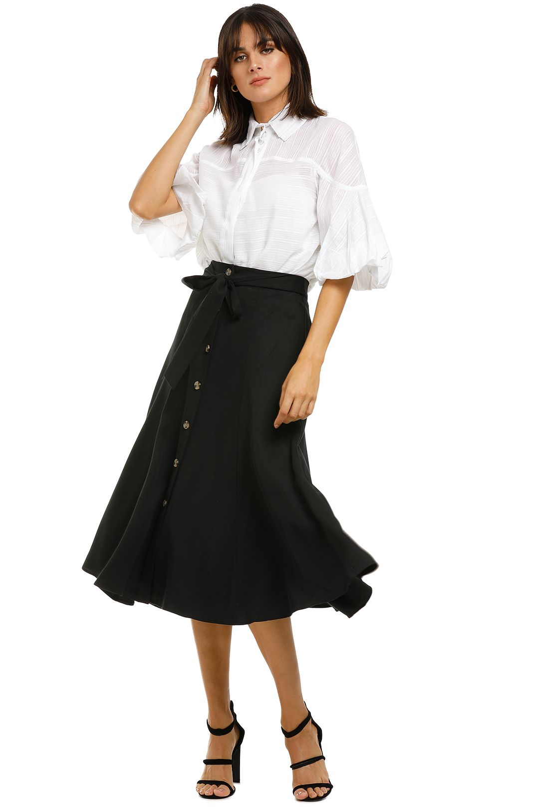 Whistles-Marissa-Button-Through-Skirt-Black-Front