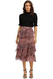 Whistles-Simba-Stripe-Print-Skirt-Pink-Multi-Front