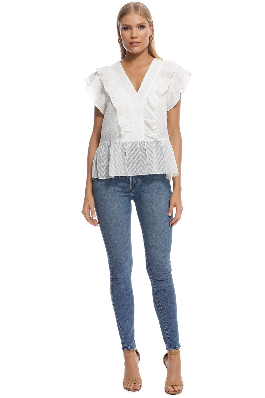 Wish - Sienna Ruffle Top - White - Front