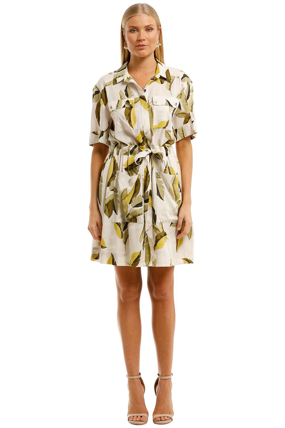 Witchery-Printed-Shirt-Dress-Green-Multi-Front