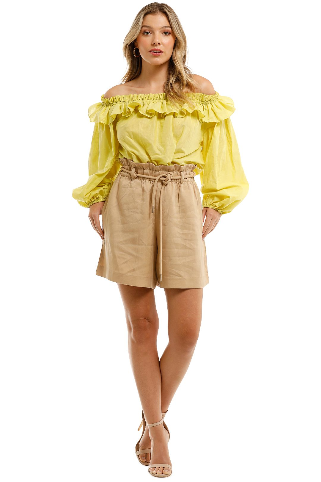 Witchery-Ruffle-Off-Shoulder-Blouse-Citron-Yellow-Front