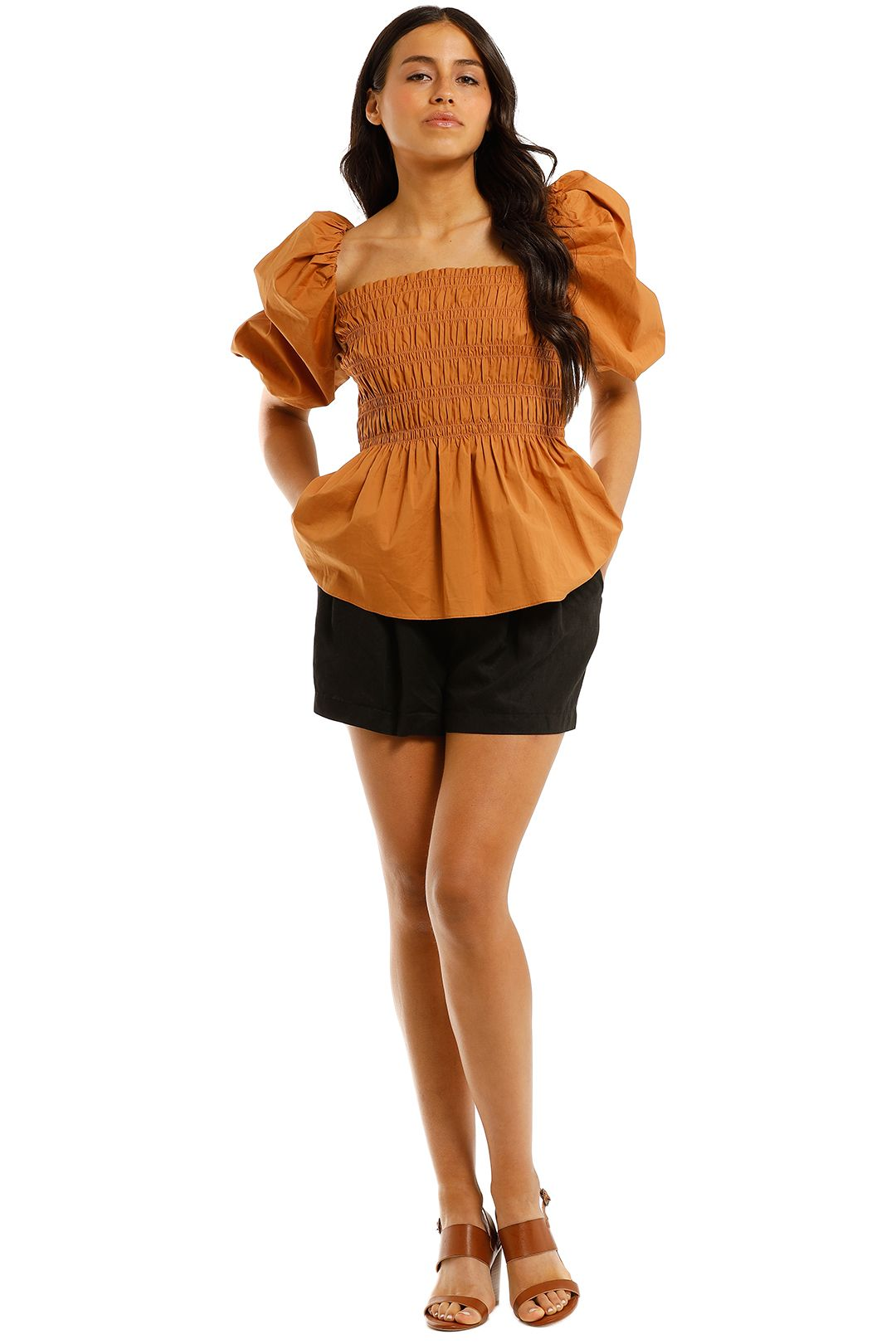 Witchery-Shirred-Cotton-Blouse-Copper-Front