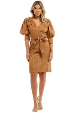 Witchery-Texture-Cotton-Mini-Dress-Fudge-Front