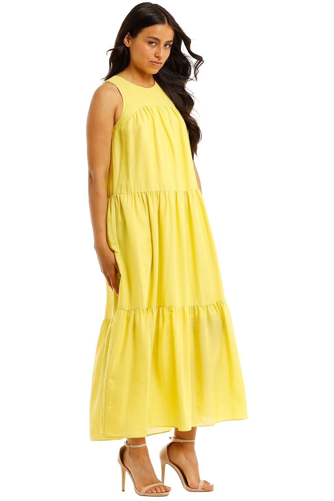 Witchery-Yoke-Tiered-Dress-Citron-Side