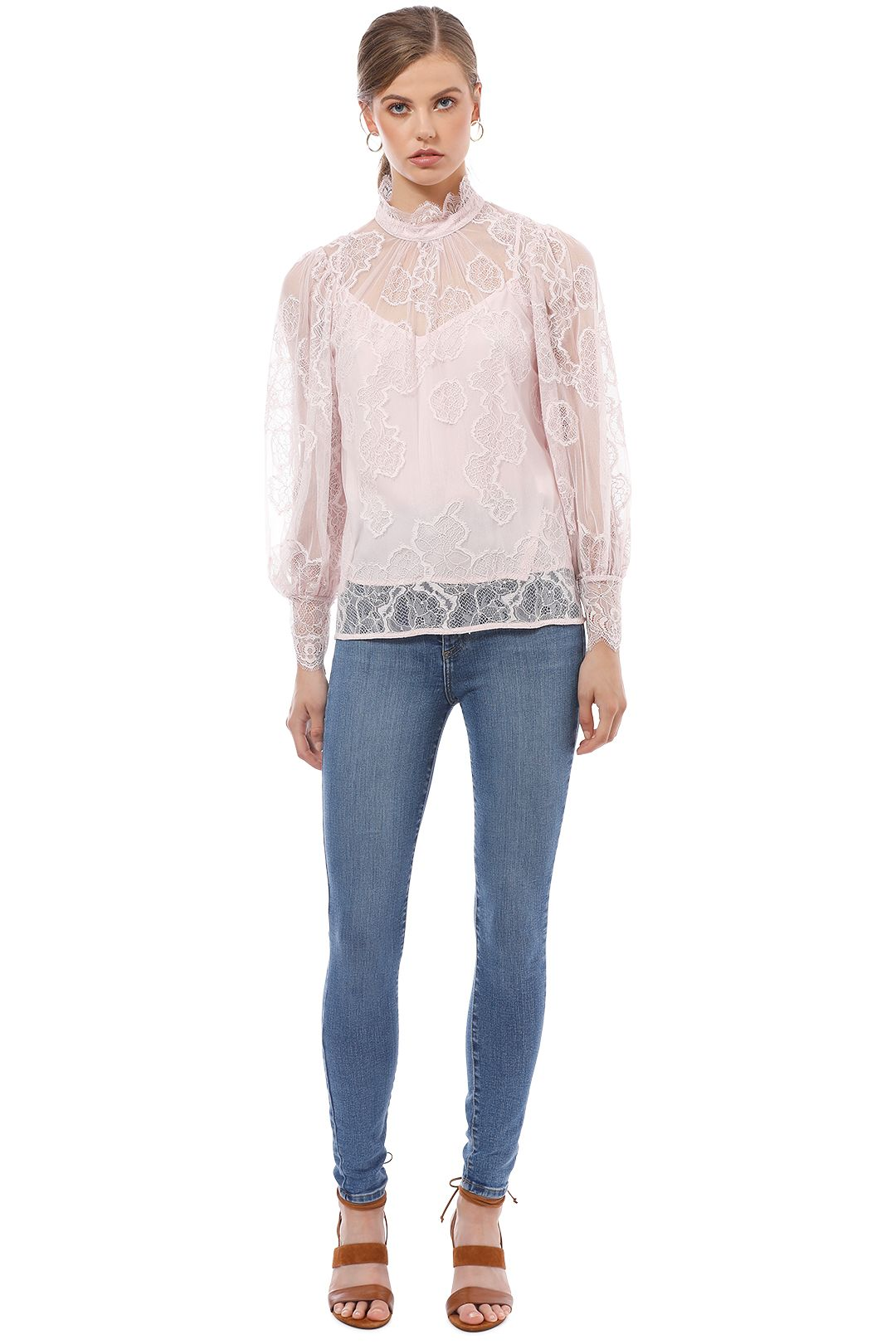 Witchery - Lace Balloon Sleeve Blouse - Pink - Front