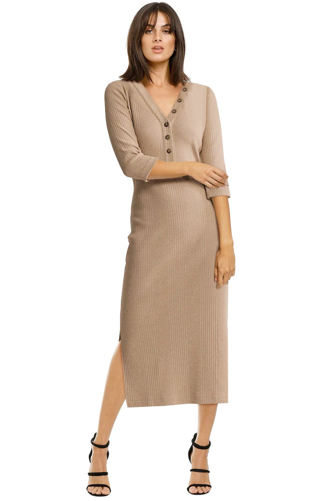 Witchery-Ribbed-Jersey-Dress-Barley-Front