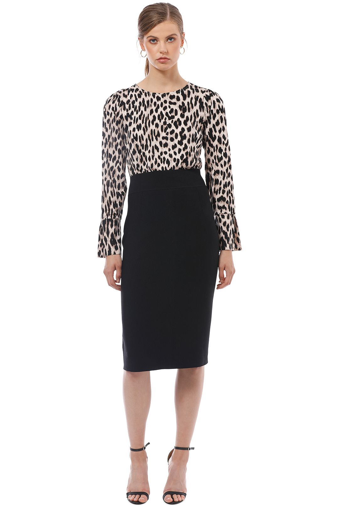Witchery - Sleeve Detail Top - Leopard Print - Front
