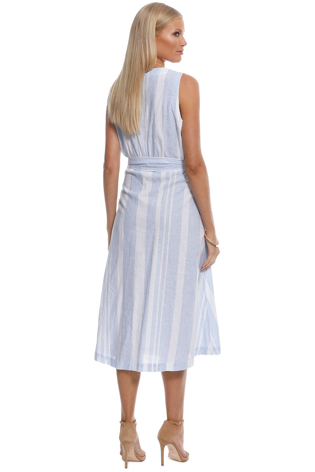 Witchery - Stripe Button Midi Dress - Blue - Back
