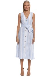 Witchery - Stripe Button Midi Dress - Blue - Front