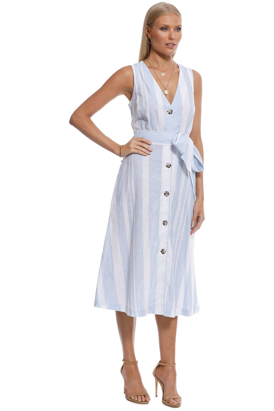 Witchery - Stripe Button Midi Dress - Blue - Side