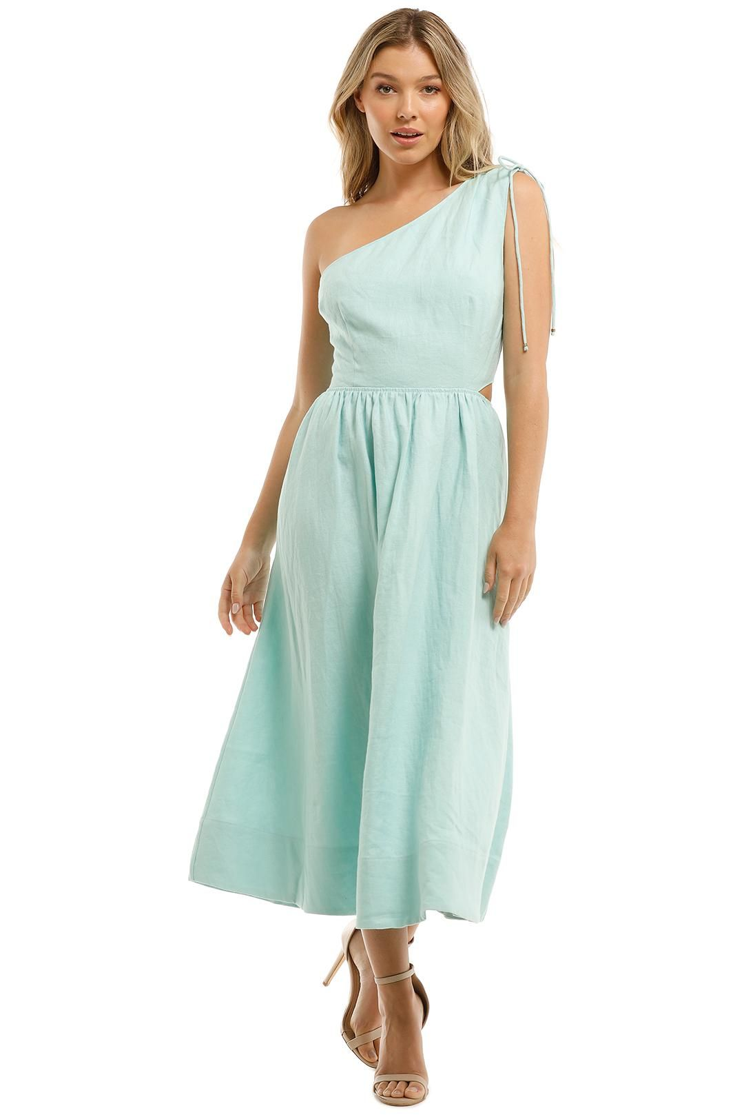 Witchery Asymmetric Cutout Dress Mint Blue Midi