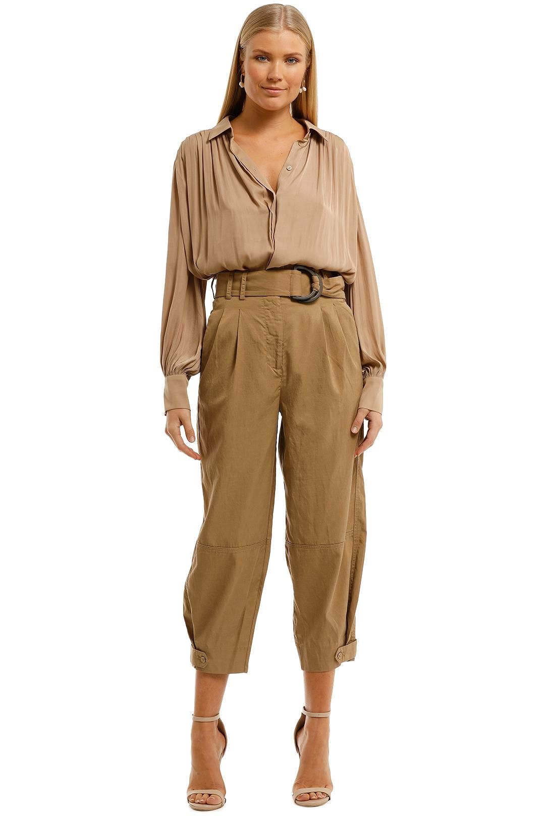 Witchery Buckle Utility Pant Caramel
