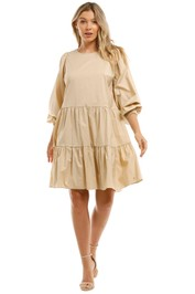 Witchery  Cotton Tiered Dress Long Sleeves Brown