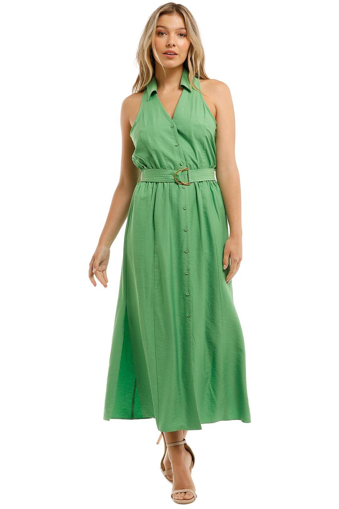 Witchery Green Halter Shirt Midi Dress Button