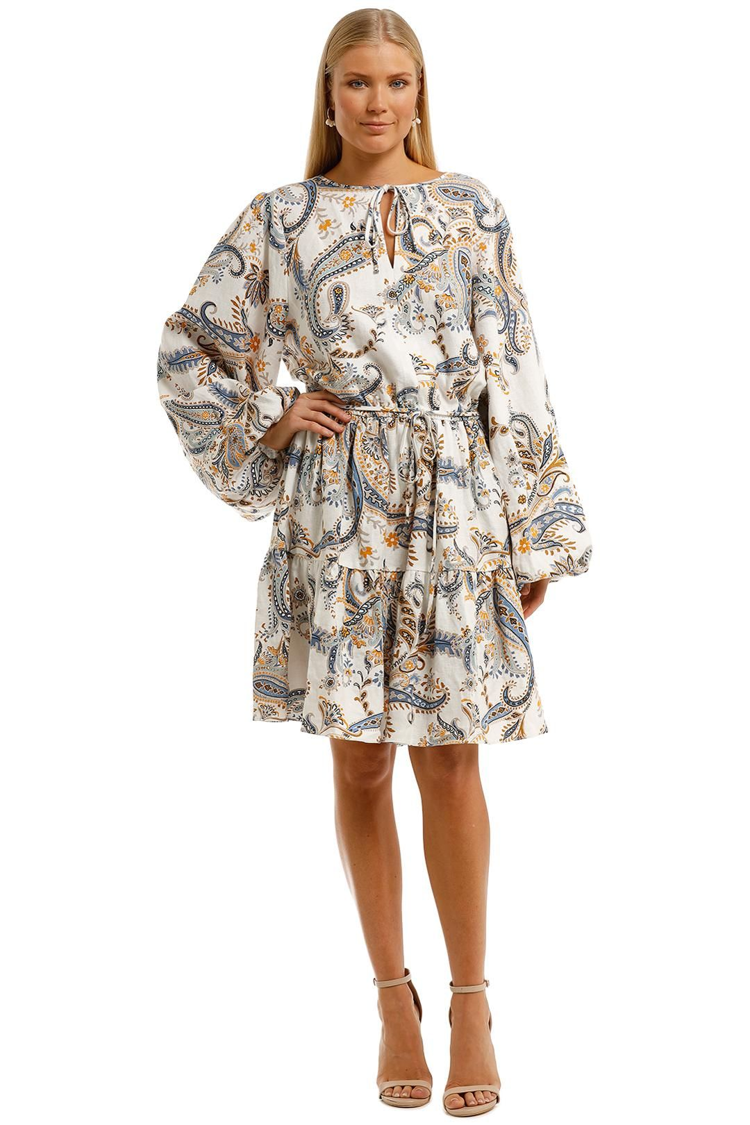 Witchery Linen Printed Dress Marigold Multi