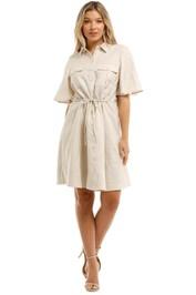 Witchery Linen Shirt Dress Oyster Knee Length