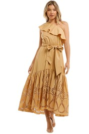 Witchery One Shoulder Embroidered Dress Sesame