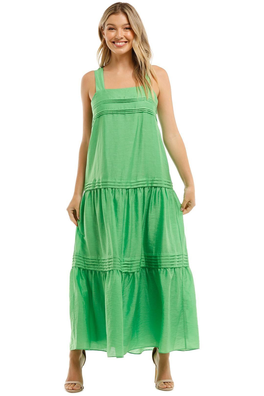 witchery Pintuck Tiered Maxi Dress Green