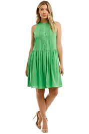 Witchery Pintuck Mini Dress Jewel Green Gathered