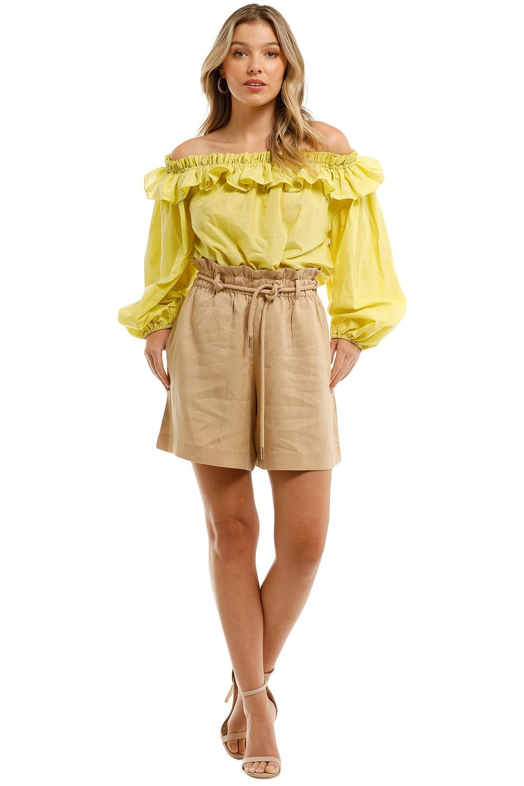 Witchery Ruffle Off Shoulder Blouse Citron Yellow