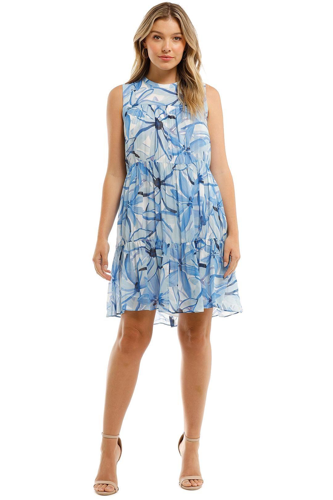 Witchery Sleeveless Tiered Dress Mini Blue Floral Crew