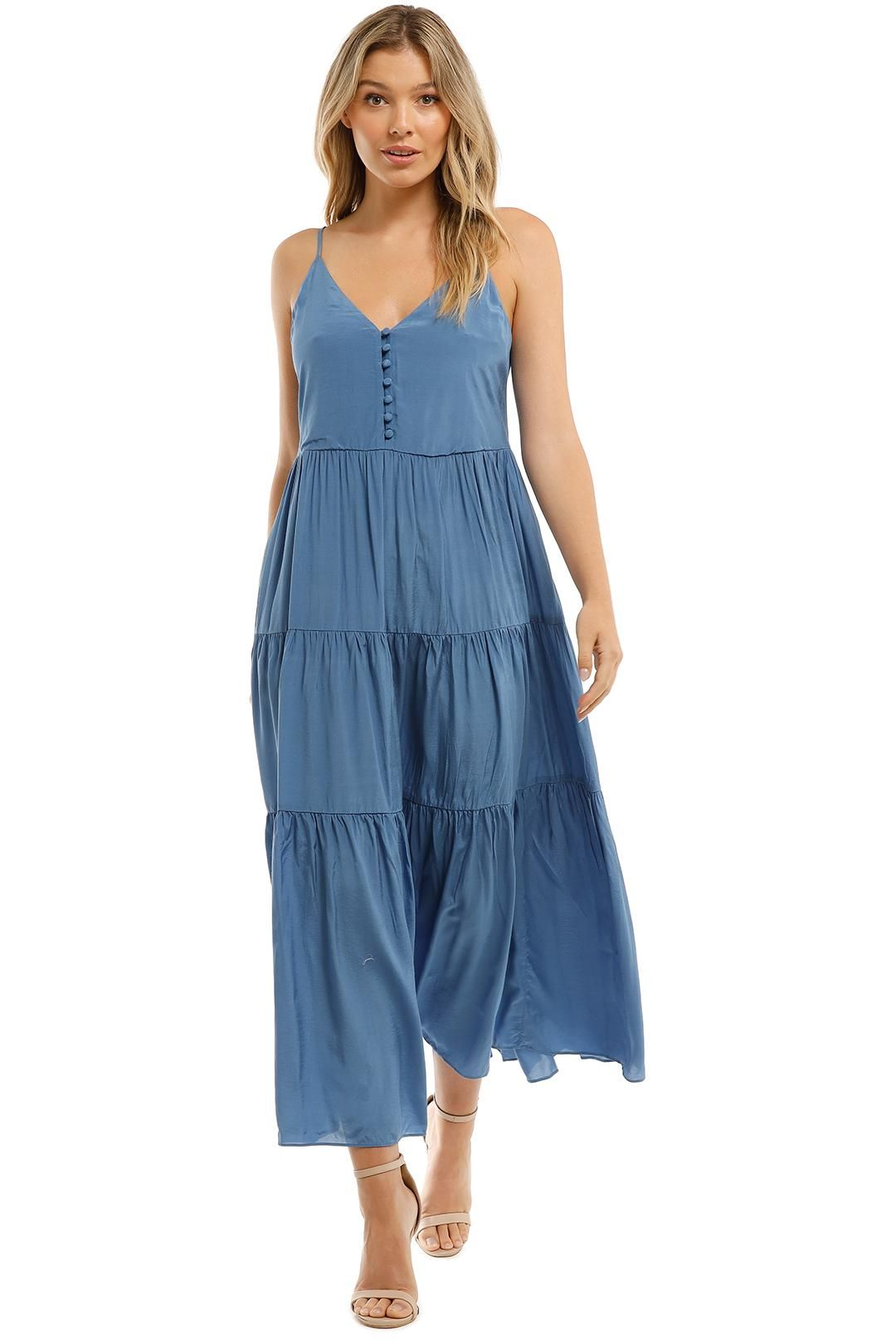 witchery Tiered Button Front Dress Maxi Sleeveless